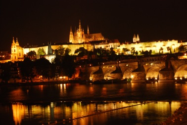 Prague Castle by night.
