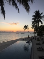 Pool and beach by Sunset